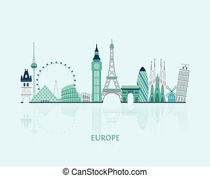 Europe skyline silhouette - Vector graphics, European cities...