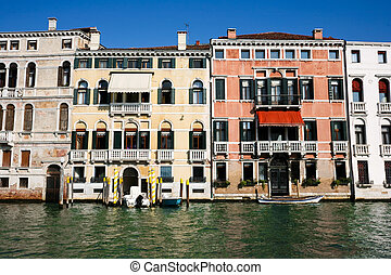 weathered venetian facades - Colourful weathered facades of...