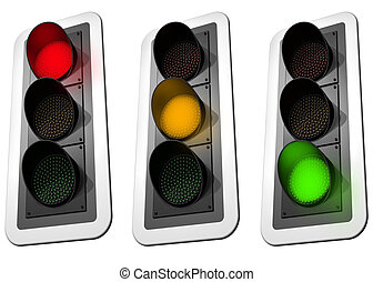 Traffic Lights - Isolated illustration of three signaling...