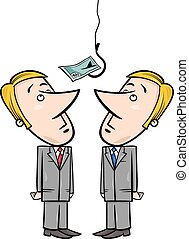 businessmen and money bait - Concept Cartoon Illustration of...