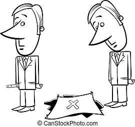 businessman and trick trap - Black and White Concept Cartoon...