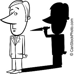 businessman and his shadow - Black and White Concept Cartoon...