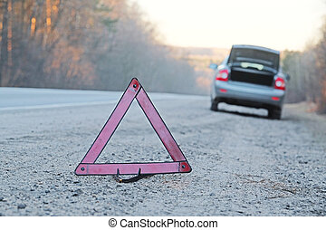 emergency sign - The image of an emergency sign on a road