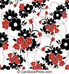 Vector seamless floral pattern. Black and red background