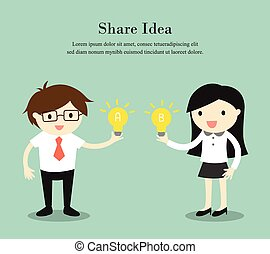 Sharing idea. - Business concept, Businessman and business...