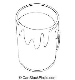 Paint Bucket - Black outline vector Paint Bucket on white...