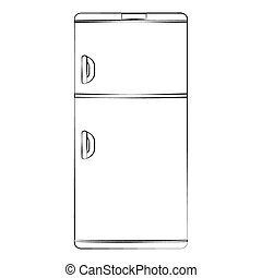 Refrigerator - Black outline vector refrigerator on white...
