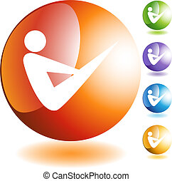 Yoga Icon - Stretching stick figure isolated web icon on a...