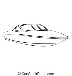Boat - Black outline vector boat on white background.