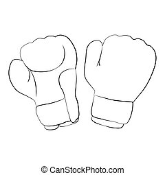 Boxing Gloves - Black outline vector boxing gloves on white...