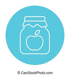 Apple jam jar line icon - Apple jam jar line icon for web,...