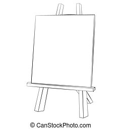 Easel painting - Black outline vector easel painting on...