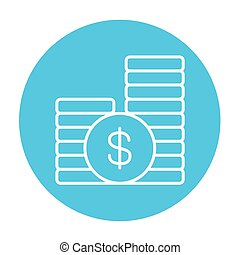 Dollar coins line icon - Dollar coins line icon for web,...