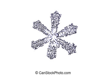natural snowflake isolated on a white closeup - natural...
