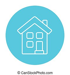 Two storey detached house line icon. - Two storey detached...