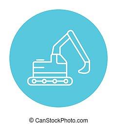 Excavator line icon - Excavator line icon for web, mobile...