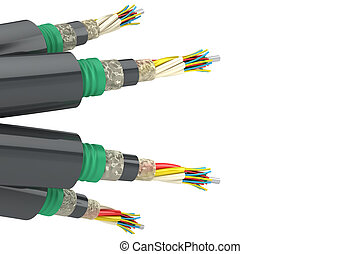 Electric cables - Group of electric cables Isolated on white...
