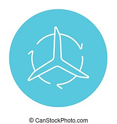 Windmill with arrows line icon. - Windmill with arrows line...
