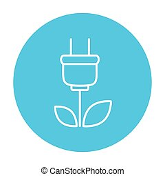 Eco green energy line icon - Plug with leaves line icon for...