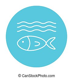 Fish under water line icon. - Fish under water line icon for...