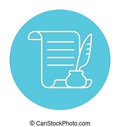 Paper scroll with feather pen line icon. - Paper scroll with...