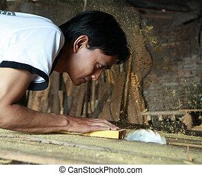 industria, madera, trabajando, hombre