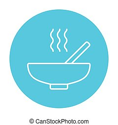 Bowl of hot soup with spoon line icon. - Bowl of hot soup...