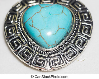 Turquoise Stone Heart - Big natural turquoise stone in a...