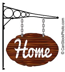 Oval Home Sign and Bracket - A wooden home sign with metal...