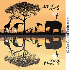 Savana with giraffes, herons and elephant.eps