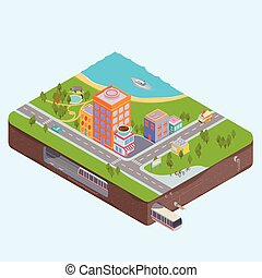 Isometric City Center map - 3d Isometric vector Buildings,...