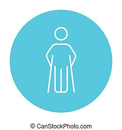 Man with crutches line icon - Man with crutches line icon...
