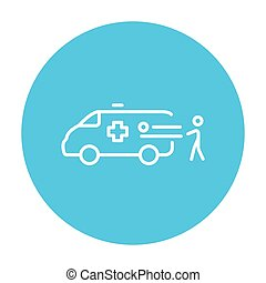 Man with patient and ambulance car line icon.