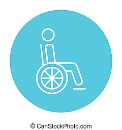 Disabled person line icon. - Disabled person sitting in the...
