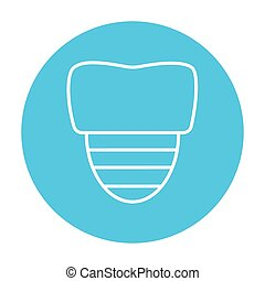 Tooth implant line icon. - Tooth implant line icon for web,...