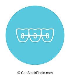 Orthodontic braces line icon. - Orthodontic braces line icon...