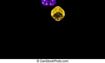 Dice - Colorful Dice On Black Background 3D render Animation...