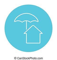 House under umbrella line icon - House under umbrella line...