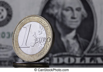 coin euro on the background bill dollar