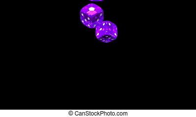 Dice - Purple Dice On Black Background. 3D render Animation....