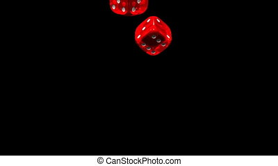 Dice - Red Dice On Black Background. 3D render Animation....