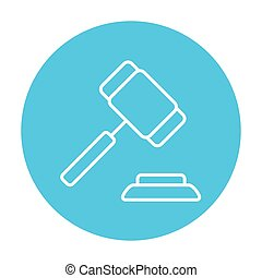 Auction gavel line icon - Auction gavel line icon for web,...