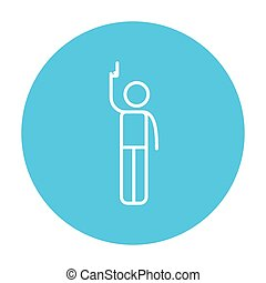 Man giving signal with starting gun line icon - Man giving a...