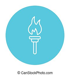 Burning olympic torch line icon - Burning olympic torch line...