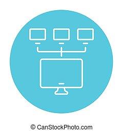 computer, rete, linea, icon.,