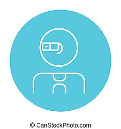 Man in augmented reality glasses line icon - Man in...