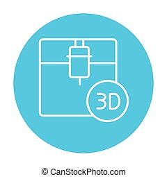Tree D printing line icon. - Tree D printing line icon for...