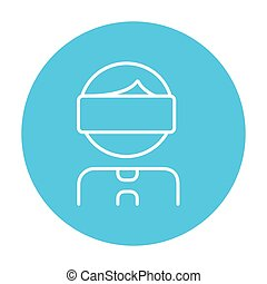 Man wearing virtual reality headset line icon - Man wearing...