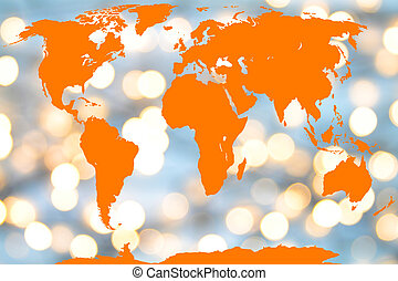 map of the world - World map with light reflections as...