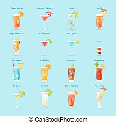 Alcohol drinks and cocktails icon set - Popular cocktails...
